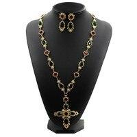 새로운 유명한 디자인 오스트리아 크리스탈 금속 체인 보석 색 돌 진주 크로스 긴 스웨터 목걸이 빈티
