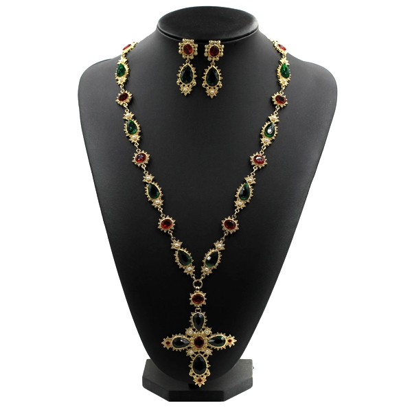 New famous design Austrian crystal Metal chain gems color stone pearl Cross Long sweater necklace Vintage Baroque