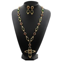 New Famous Design Austrian Crystal Metal Chain Emerald Ruby Stone Pearl Cross Pendant Long Sweater Necklace