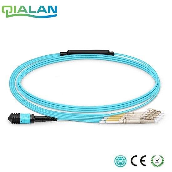 30 m MTP MPO câble de raccordement OM3 femelle à 6 LC UPC Duplex 12 Fibers cordon de raccordement 12 noyaux cavalier OM3 câble de rupture, Type A, Type B