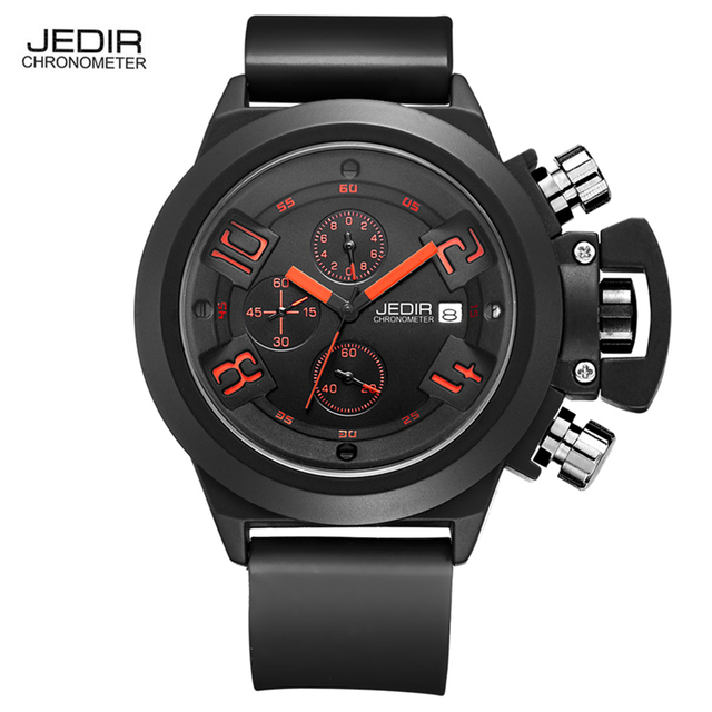 2017 JEDIR CHRONOGRAPH Mens Watches Top Brand Luxury Silicone Black Army Military Male Watches Male Quartz Men Wrist Watch Man
