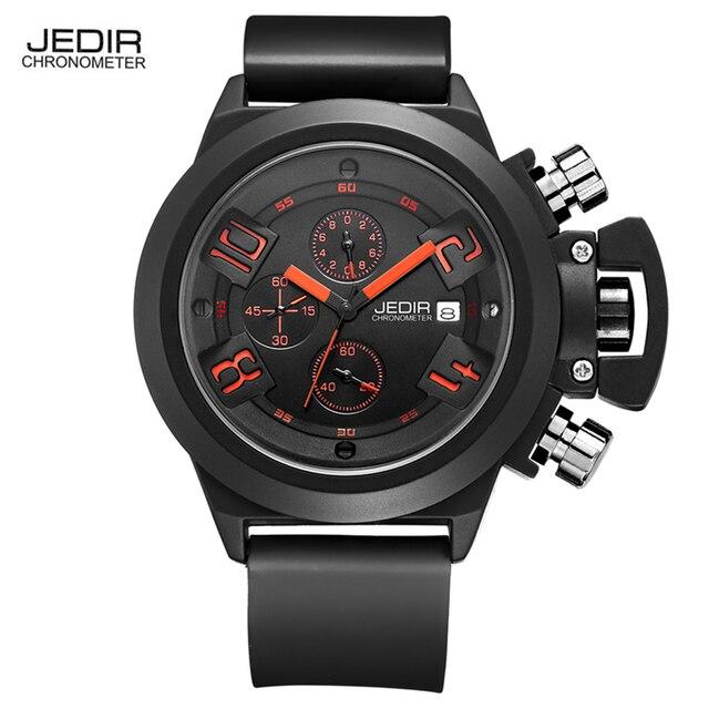 2017 JEDIR CHRONOGRAPH Mens Watches Top Brand Luxury Silicone Black Army Military Male Watches Male Quartz Men Wrist Watch Man