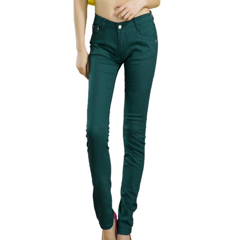 Summer Female Stretch Candy Colored Pencil Women's Pants Sexy Elastic Cotton Jeans Pants Denim Trousers 17 Color Size XS-XXL
