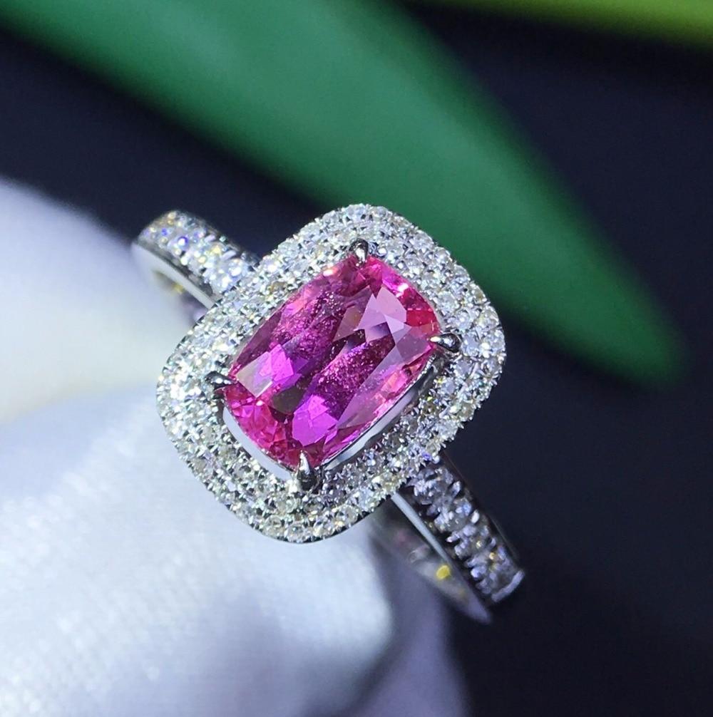 Fine Jewelry GIL Real 18K White Gold 100% Natural Unheat Pink Sapphire Gemstones 18k Sapphire Diamonds Female Wedding Rings