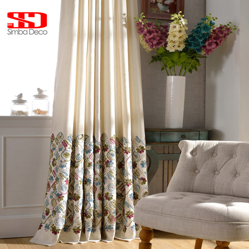 Cotton Blackout Curtains For Living Room Embroidered Fl Blinds D Children Cortinas Bedroom Window Treatments Panels In From Home