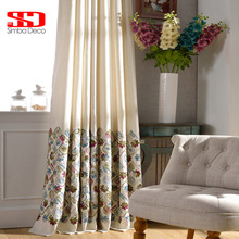 Cotton Blackout Curtains For Living Room Embroidered Floral Blinds Drapes Children Cortinas For Bedroom Window Treatments Panels