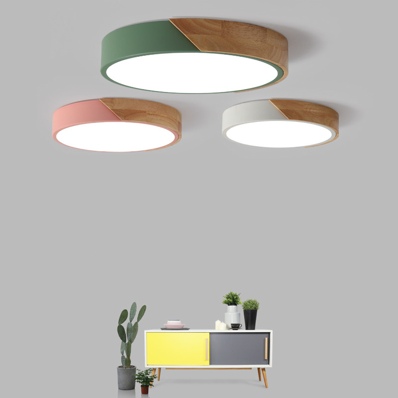 Modern ceiling light Wood iron Acrylic round dustproof lamp Kitchen bedroom porch LED chip decoration Lighting Fixture AC110-265 mini porch ceiling light super bright mini led ceiling lamp aisle corridor lighting fixture ac110 240v