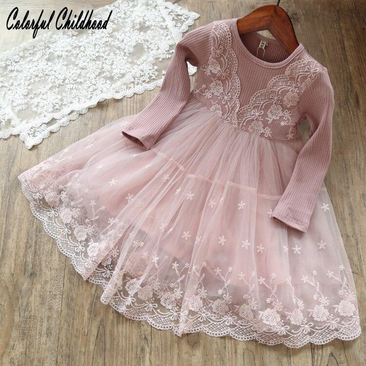 Little Girls Dress autumn long sleeve lace Princess Dress