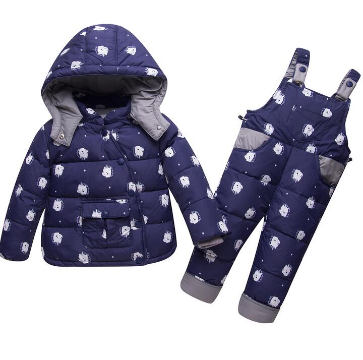 купить Winter Kids Clothing Sets Children Warm Down Jackets Clothing Sets Baby Girls Boys Down Coats +Pants sets Toddler snow clothes недорого