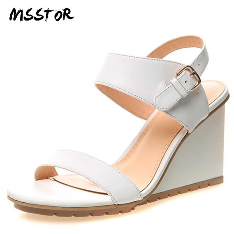 MSSTOR Peep Toe White Women Summer Shoes White Fashion Casual Buckle Strap Wedges High Heels Sandals Women Genuine Leather Pumps xiaying smile woman sandals shoes women pumps summer casual platform wedges heels sennit buckle strap rubber sole women shoes