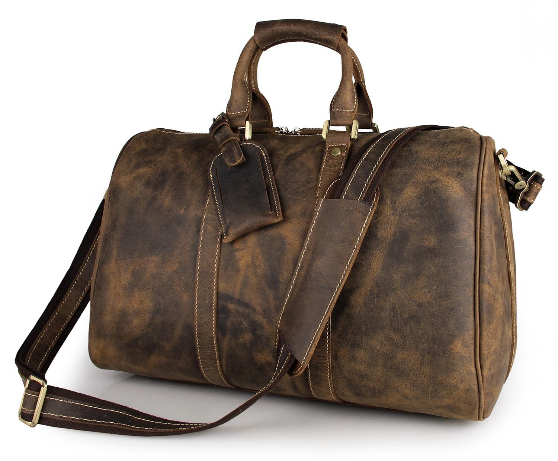 2016 Real Bags Vintage Crazy Horse Genuine Leather Travel Bag Men Duffle Luggage Large 20-35l Weekend Tote Big