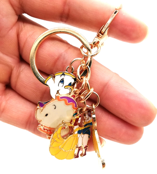 Retail 1 Pcs  Beauty And The Beast Princess Key Chain Cartoon Keychain Key Ring Gift