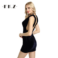 FKZ קיץ שמלות מפלגה ללא משענת שמלות גב פתוח נשים צווארון V העמוק מוצק ללא שרוולים Slim שמלת חוף שמלת Vestidos SKQ17047