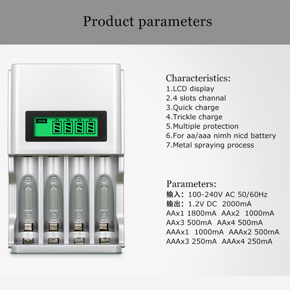 PALO Intelligent LCD Display Battery Charger For NI MH NI CD AA AAA Rechargeable Battery 4pcs AA rechargeable Batteries in Rechargeable Batteries from Consumer Electronics
