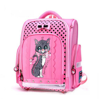 Pink bow cat School Bags Children Backpack Kids Orthopedic Schoolbag For Girls Waterproof nylon book bag 2019 mochila infantil