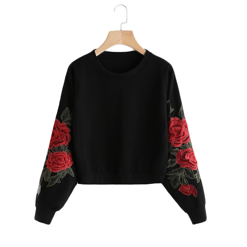 HTB1fLlQSVXXXXbKXpXXq6xXFXXXZ - Rose Embroidery Sweatshirt Women Vintage Black Long Sleeve JKP050