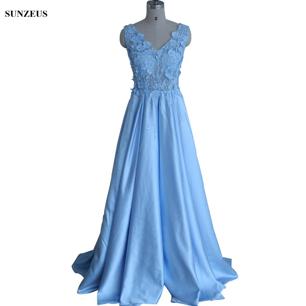 Long Blue   Bridesmaid     Dress   Luxury Custom-made Party   Dress   For Wedding Beaded Lace Illusion Prom Gown demoiselle d'honneur BDS037