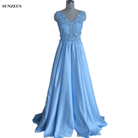 Long Blue Bridesmaid Dress Luxury Custom made Party Dress For Wedding Beaded Lace Illusion Prom Gown demoiselle d'honneur BDS037