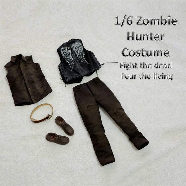 "1/6 Zombie Hunter Costume Fight the Dead Fear the Living male Darnell Dalier Crossbow Brother Suit for 12"" Male Figure Body Toys"
