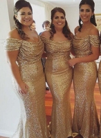 Gold 2019 Cheap Bridesmaid Dresses Under 50 Mermaid Off The Shoulder Sequins Long Wedding Party Dresses For Women