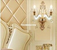 Frete Grátis Golen Arandelas de Parede Lâmpadas de Parede de Cristal Luz de Parede Europeu Europeu para Casa Sala de Estar Quarto Sala de Jantar Deco Luzes