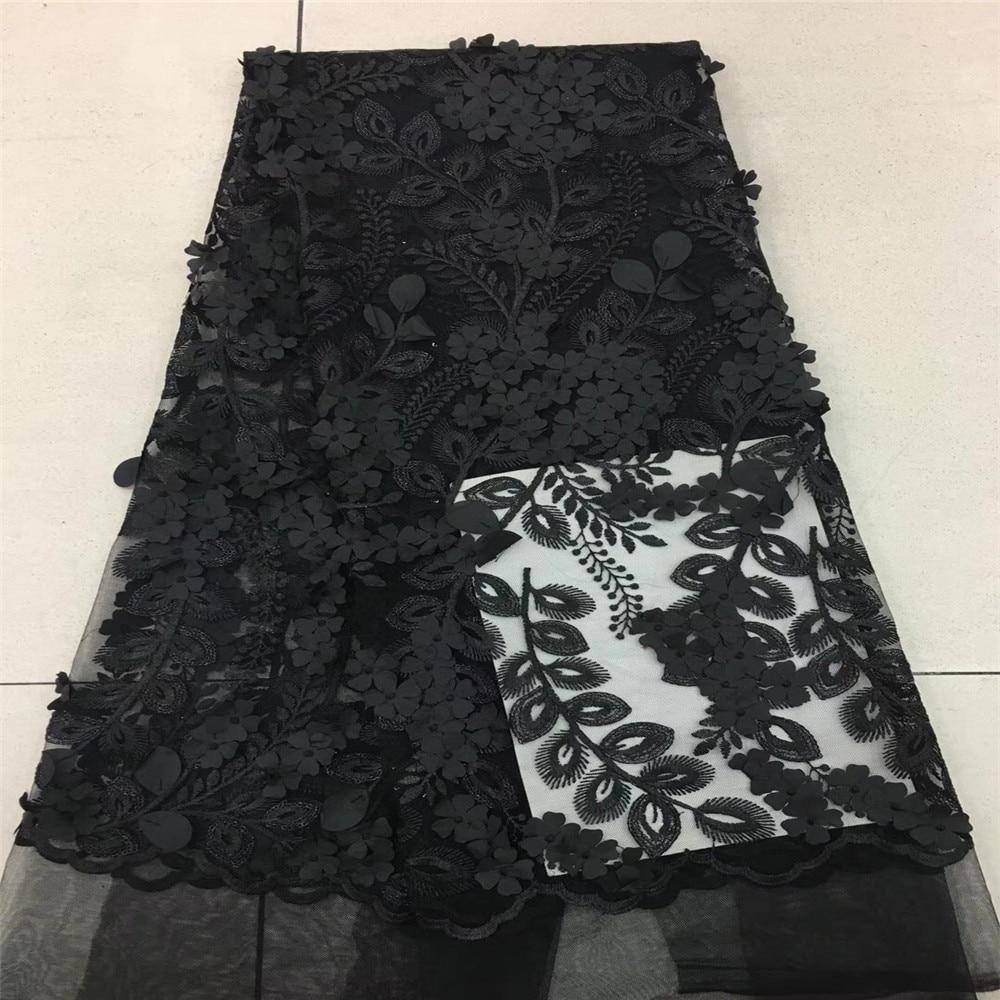 Noir africain lacets tissu brodé nigérian 3D français dentelle tissu haute qualité 2018 africain français Net dentelle tissu HJ61-2