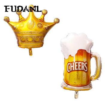 50pcs Large Gold Crown Whiskey Bottle Beer Champagne Cup Foil Balloon Bar Happy Birthday Wedding Party Decoration Balloons