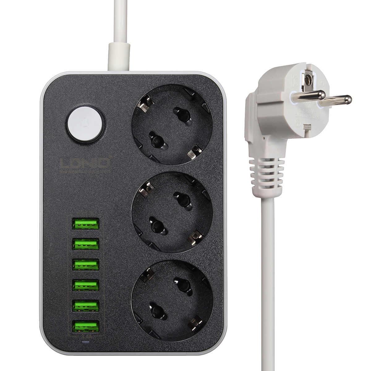 LDNIO 5 в 3.4A Smart USB мощность полосы Desktop 3 Мощность Разъем 6 USB порты и разъёмы 1,6 м ЕС Plug зарядки разъем