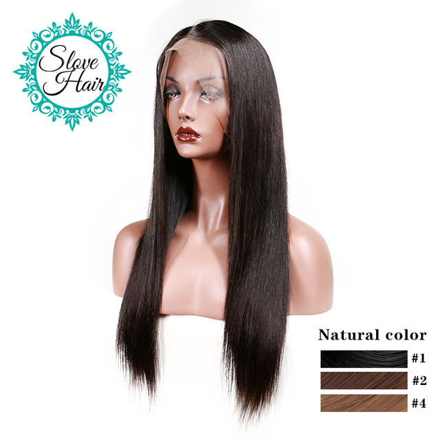 Lace Front Human Hair Wigs For Women Black Color Remy Brazilian Hair Straight Wig With Baby Hair Natural Hairline Full End Slove
