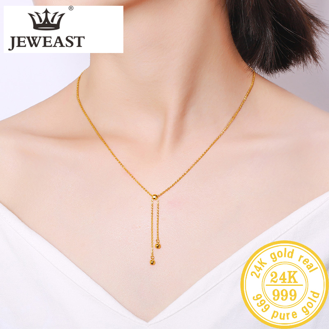 BTSS 24K Pure Gold Necklace Real AU 999 Solid Gold Chain Beautiful Leaf Upscale Trendy Classic Fine Jewelry Hot Sell New 2020 4