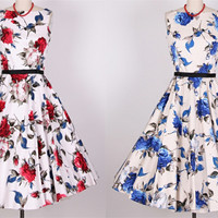 BZ51 100 140cm Red Roses Blue Rose Printed Cotton Satin Fabric Drill For Dress Home Textiles