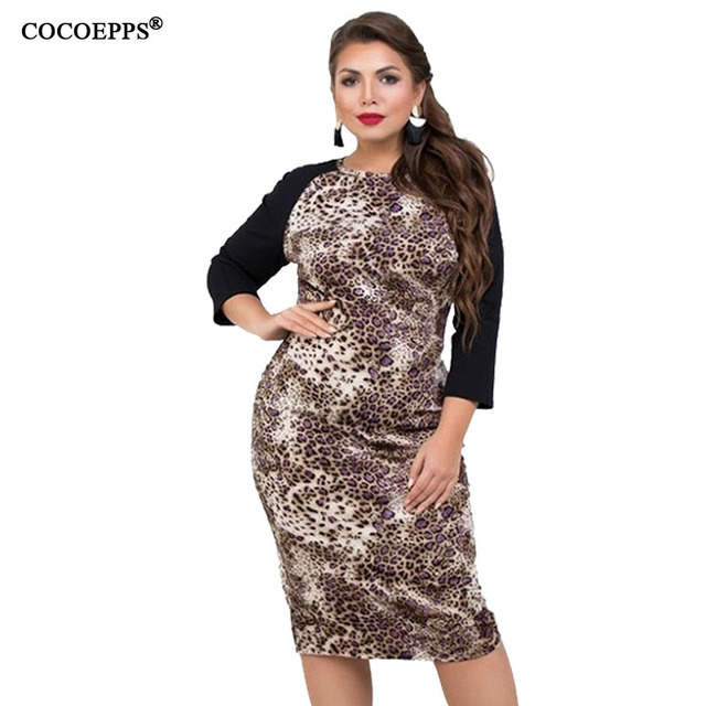 US $17.39 41% OFF|COCOEPPS 2019 Leopard Print Dresses large size women  dress Summer bandage Vintage Plus Size Women Clothing 6XL Large Size  dress-in ...