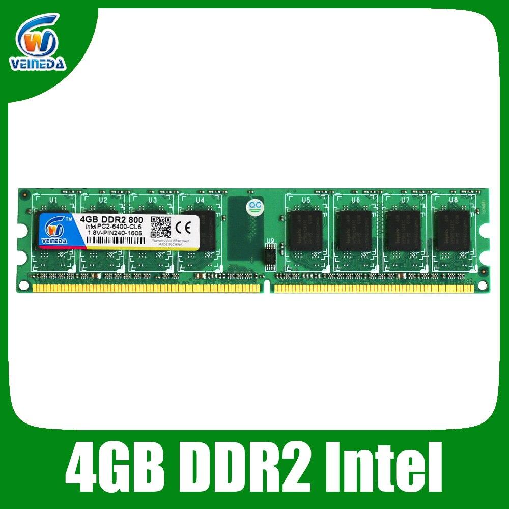 Veineda Новый DDR2 800 мГц PC2 6400 16 ГБ 4x4 ГБ Memoria памяти для настольного ОЗУ Совместимость Intel и AMD Mobo