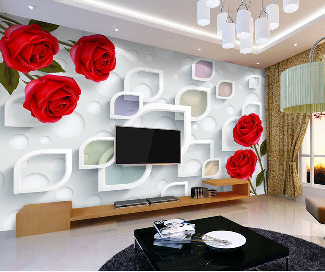 Custom flowers wallpaper 3D, fashion rose simple mural for the living room bedroom TV background wall waterproof papel de parede купить