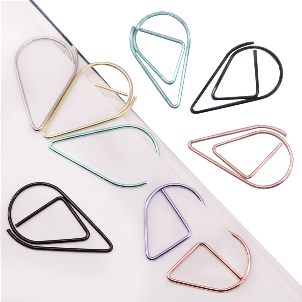 50 Pcs Metal Material Drop Shape Paper Clips Gold Silver Color Funny Kawaii Bookmark Office Shool Stationery Marking Clips