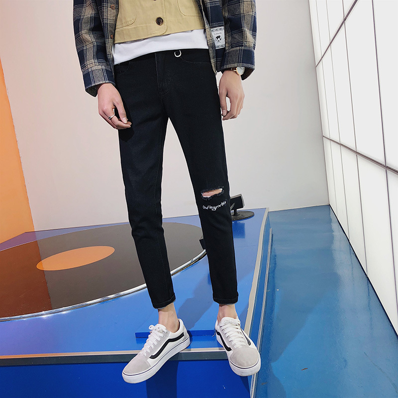 2018 Spring Summer Mens Newest Popular Tide Broken Hole Trousers Straigh Pants Black/bule/gray 28-34 Casual Sweatpants Fashion
