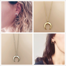 H5 Fashion Jewelry Moon Pendant Necklace and Moon Earrings Gold Color Crescent Necklace Earrings Jewelry Set Wedding Wholesale