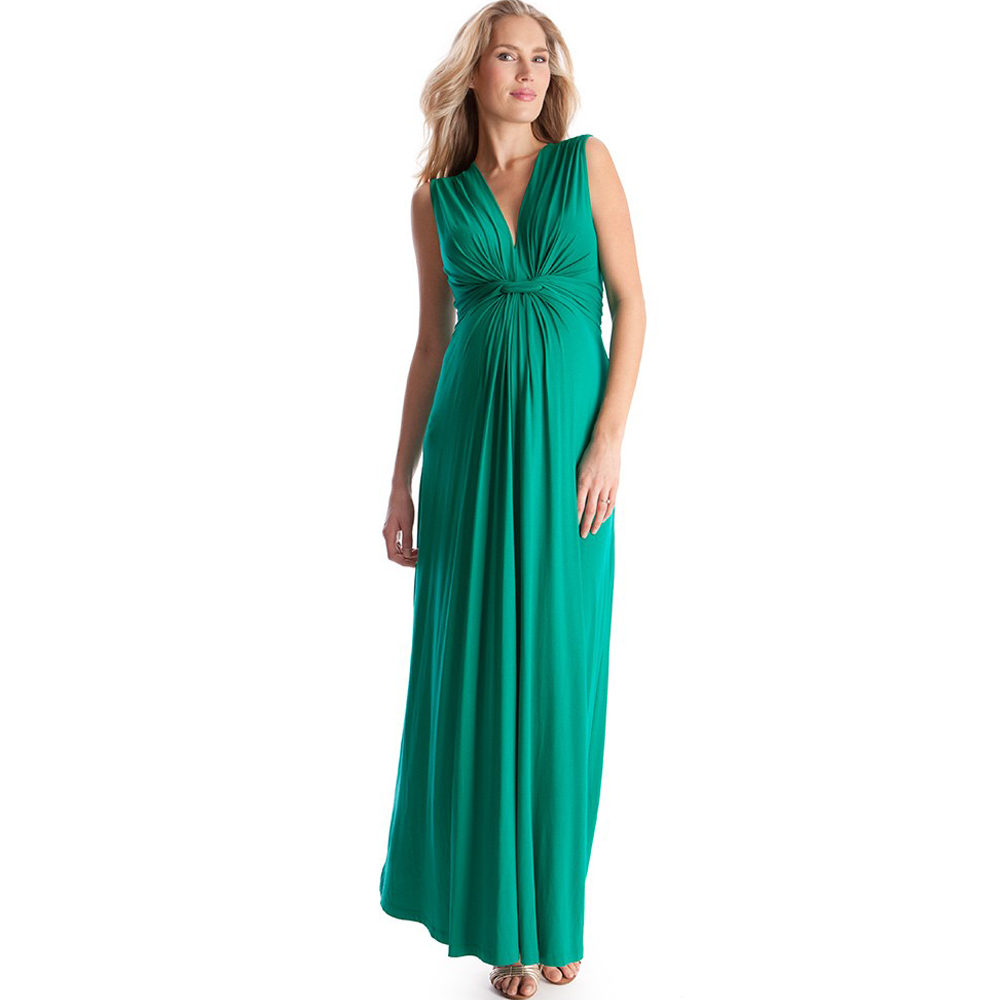 V-neck Front Knot Maternity Maxi Dress for Pregnant Women Sleeveless Noble Long Wedding Evening Gowns with Sash for Pregnancy women s stylish v neck sleeveless green print dress