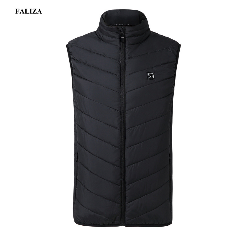 FALIZA New Men's Winter Electric Heated Vest Heating Waistcoat Thermal Warm Clothing Feather Sleeveless Gilet Homme Vests MJ117