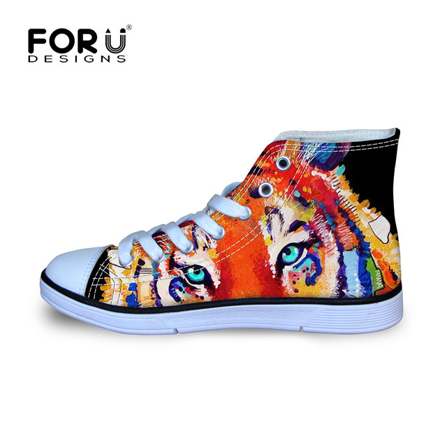 US $25.29 45% OFF|Kinder Jungen Graffti Tier Tiger Design Hohe Wanderschuhe  rutschfeste Lustige Druck Tiere Leinwand Schuhe Kinder Sneaker in Kinder ...