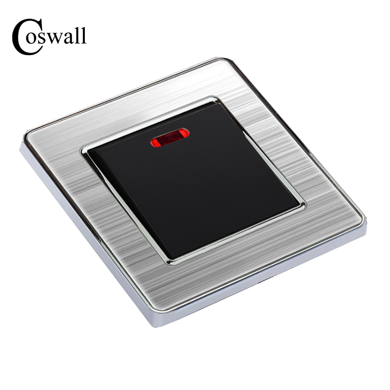 20A Luxury Switch With Neon High Power Conmutador Kitchen Water Heater Push Button Wall Switch Air Condition Interruptor hot sale wallpad luxury 45a wall switch goats brown leather air condition push button 45a wall switch with led free shipping