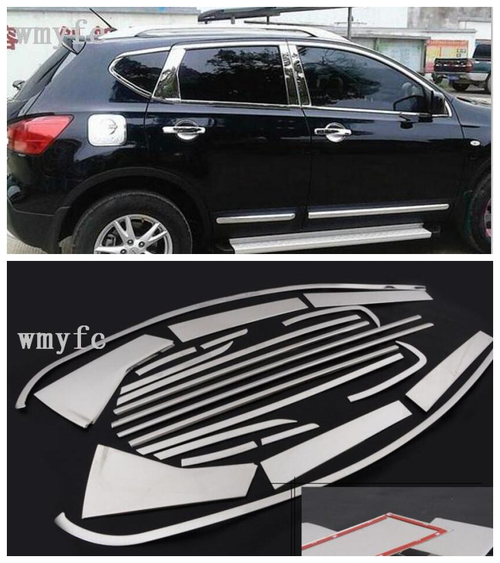 for Nissan Qashqai J10 2007 2013 High quality Car styling stainless steel Strips Car Window Trim Decoration Accessories 20pcs|Chromium Styling|   - title=
