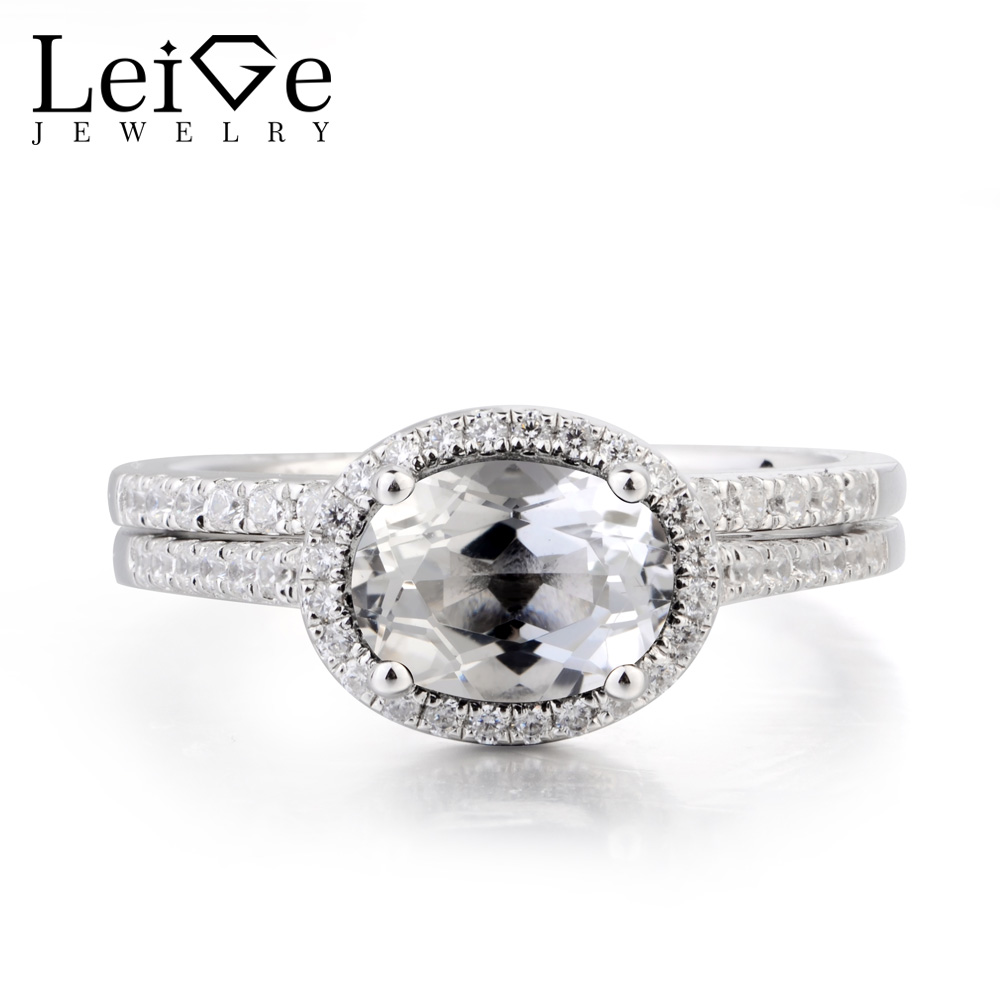 Leige Jewelry Topaz Engagement Ring Natural White Topaz Ring Oval Cut Gemstone 925 Sterling Silver Gifts Bridal Sets for WomenLeige Jewelry Topaz Engagement Ring Natural White Topaz Ring Oval Cut Gemstone 925 Sterling Silver Gifts Bridal Sets for Women