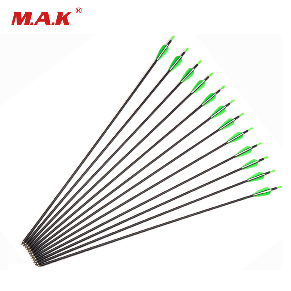 12pcs Carbon Arrow Length 30 Inch Spine 700 OD7mm ID5mm with 2 Green 1 White Feathers For Recurve bow Hunting/Shooting green arrow vol 2 triple threat the new 52