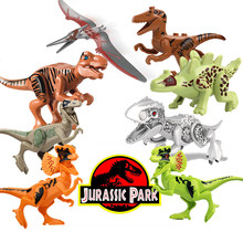Single legoing Jurassic Sale Dinosaurs park Pterosauria Triceratops Indomirus T-Rex World Figures Bricks Toys Building Blocks(China)