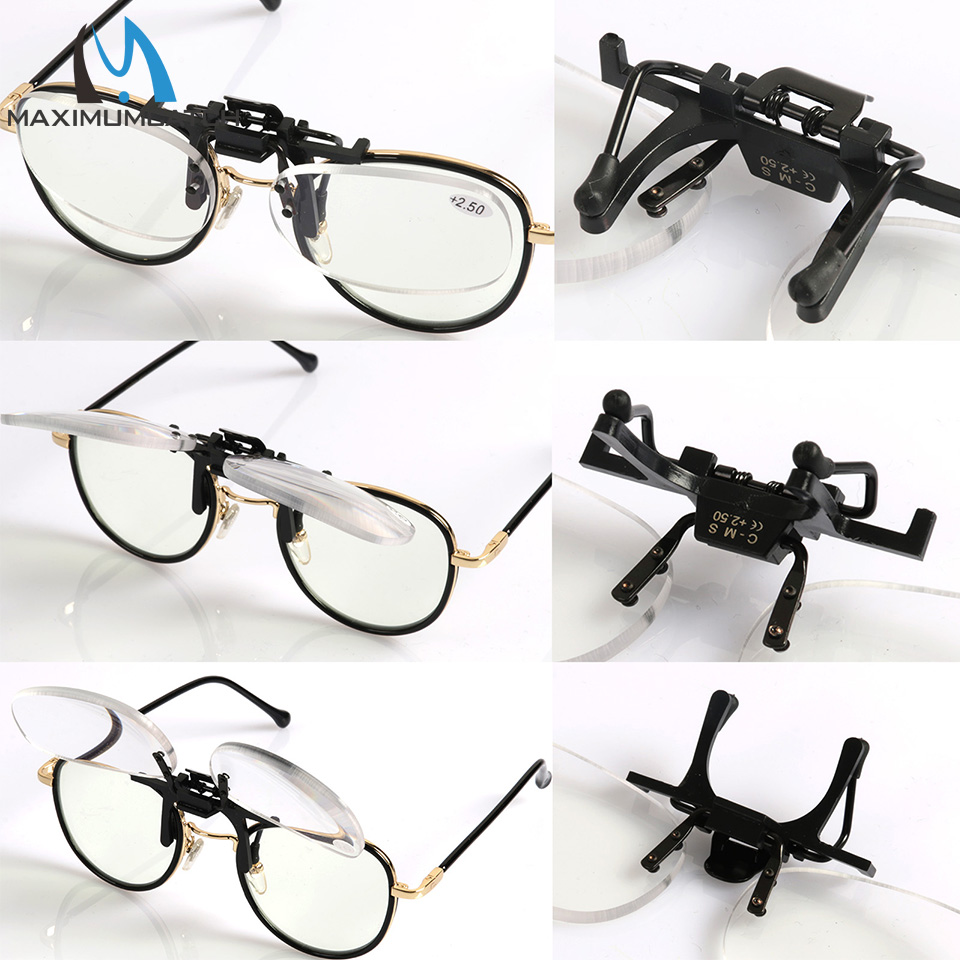 Maximumcatch Clip Presbyopic Square Glasses Rimless Portable Cilp On Reading Glasses +1.5 +2.0 +2.5