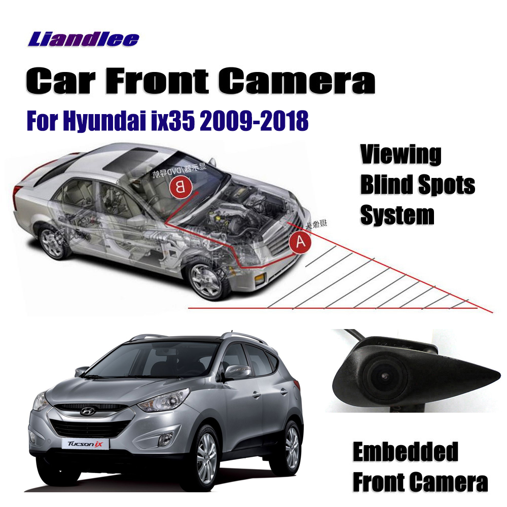 Liandlee For Hyundai IX35 2009-2018 2010 2015 Car Front View Logo Embedded Camera Cigarette Lighter 2015 4.3
