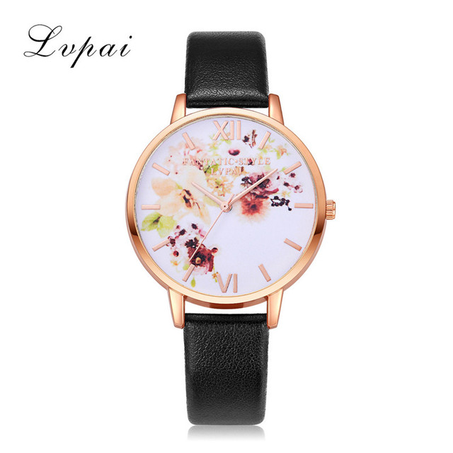 Lvpai Women Bracelet Watch Fashion Ladies Rose Gold Flowers Leather Band Analog