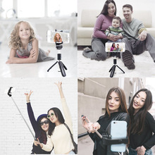 Aluminum Bluetooth Selfie Stick Tripod with Wireless Remote Shutter Phone Holder for iPhone X 8 Samsung Galaxy S8 @JH