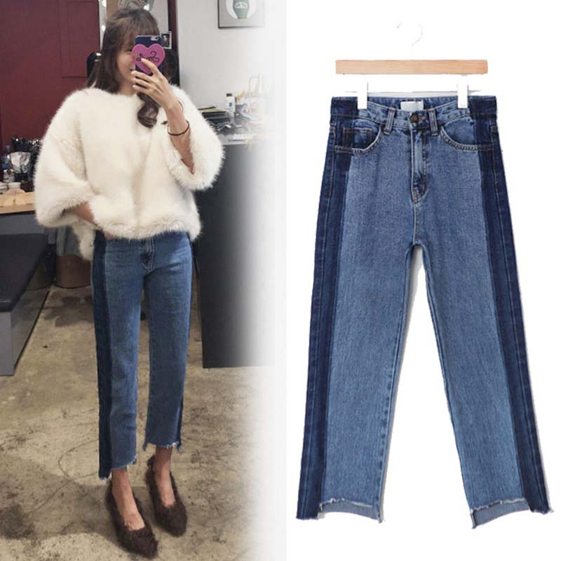 plus size denim women pants jeans ripped high waist blue long irregular boyfriend 5xl bf woman womens winter casual trouser 1